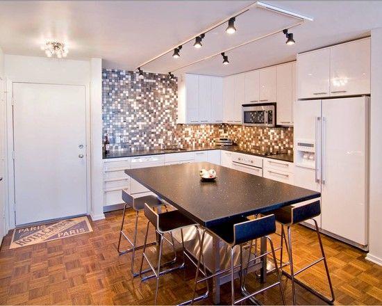 Led track lighting fixtures for white interior kitchen for Interior design track lighting