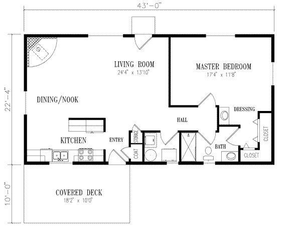 Floor Plan For 20 X 40 1 Bedroom - Google Search