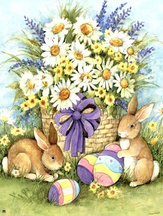 Susan Winget — Easter Bunnies Garden (530x700)