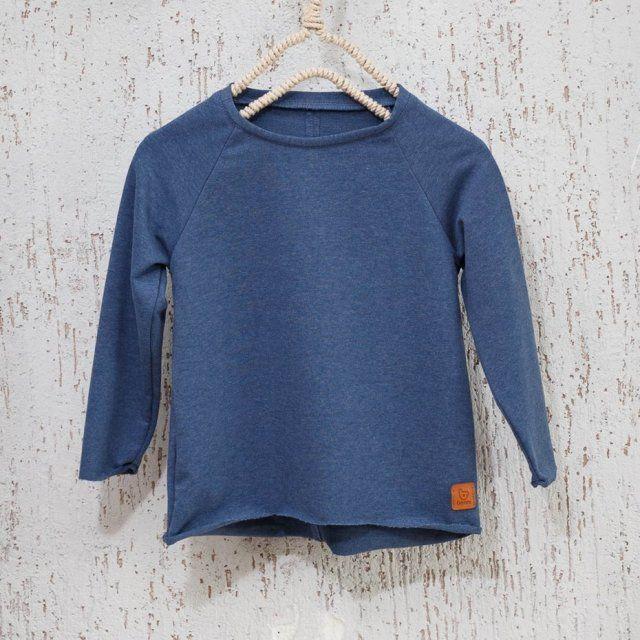Bluza basic - jeans melanż