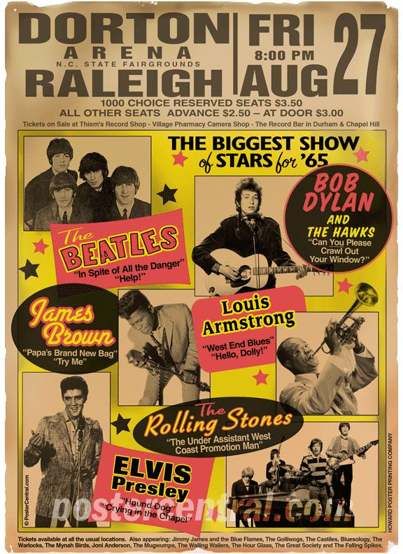 The Beatles + Bob Dylan + James Brown + Louis Armstrong + The Rolling Stones + Elvis Presley @ Raleigh, North Carolina, US (1965)