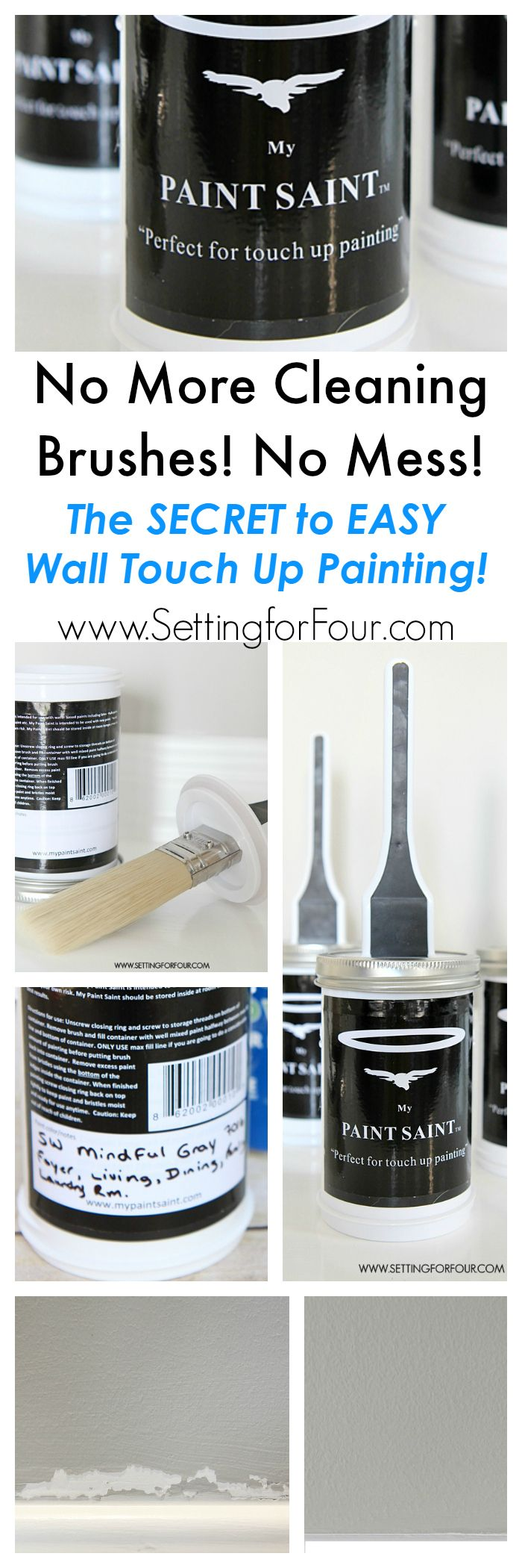 I tried this and am AMAZED! See the SECRET to easy, mess free wall touch up painting! No more cleaning brushes or dealing with old rusted cans of paint- hurray! www.settingforfour.com