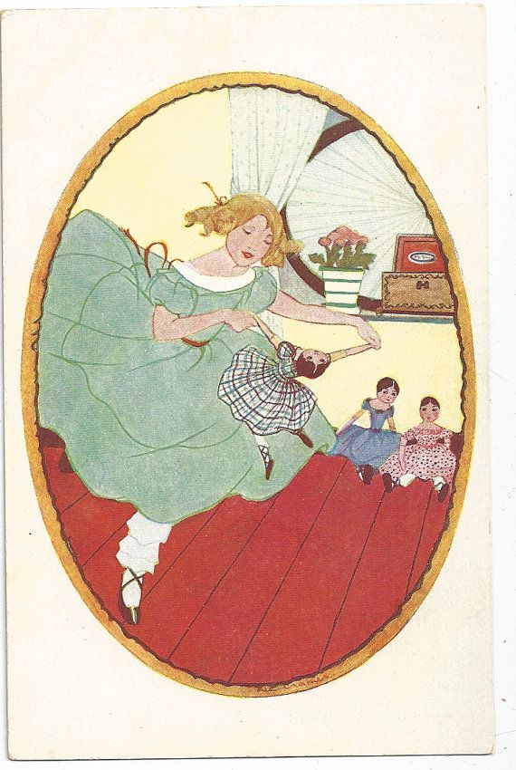 """SALE Vintage Postcard Rie Cramer Artist Signed 1930's Unused Postcard, """"Poppenfeest""""  """"Doll Party"""" Girl Dancing With Dolls"""