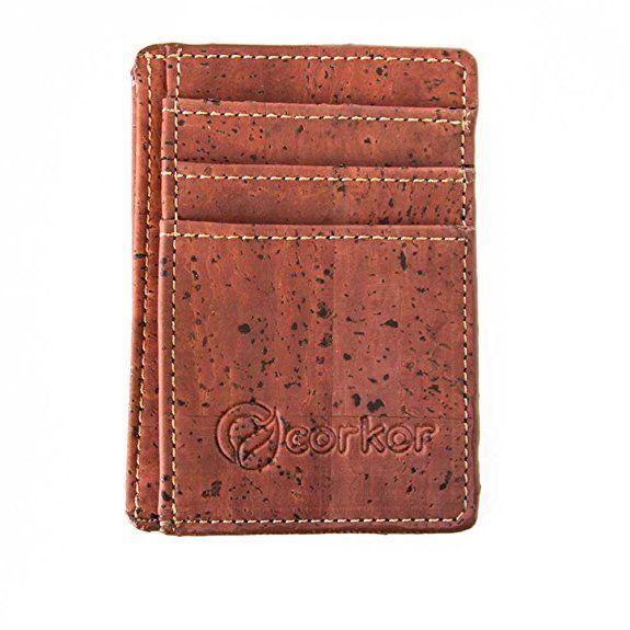 Corkor Porta Carte Di Credito Sottile Mini Portafoglio - Sughero Rosso