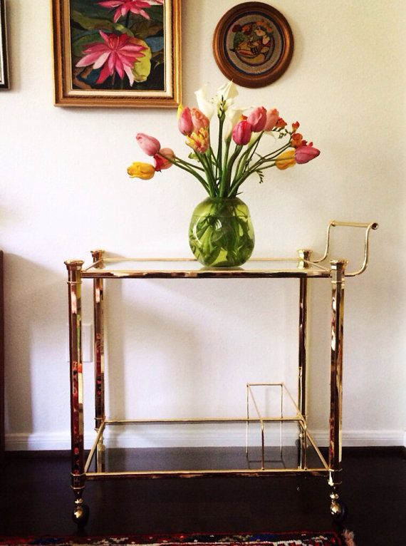 Hollywood Regency Style Brass Bar or Tea Cart by SabineVintageHome, $325.00