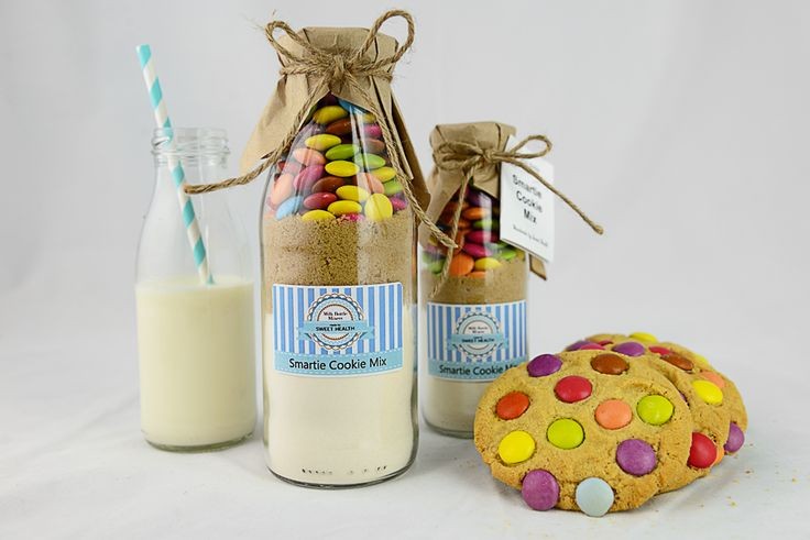 Smartie Cookie Mix Milk Bottle Mixers. available from Sweet Health http://www.sweethealth.com.au