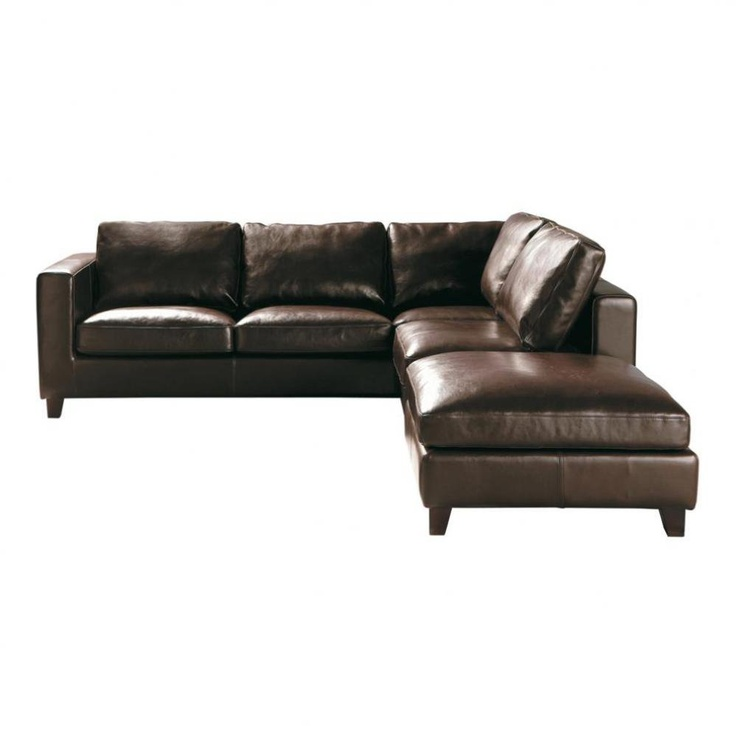 Sofa bed 5 seat sectional corner sofa bed in brown leather  KENNEDY