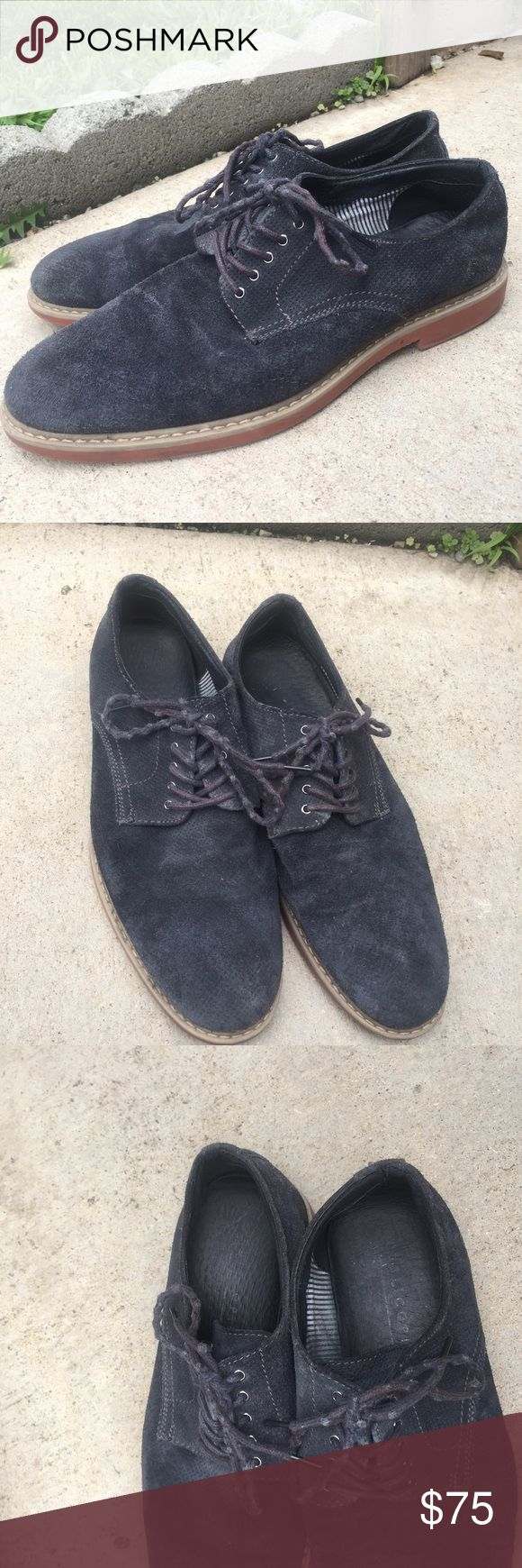 Public Opinion Navy Oxfords with Orange bottom Nice navy oxfords. Worn before as shown in pictures. The shoelaces are a bit shriveled and the the soles are rubbed out. Public Opinion Shoes Oxfords & Derbys