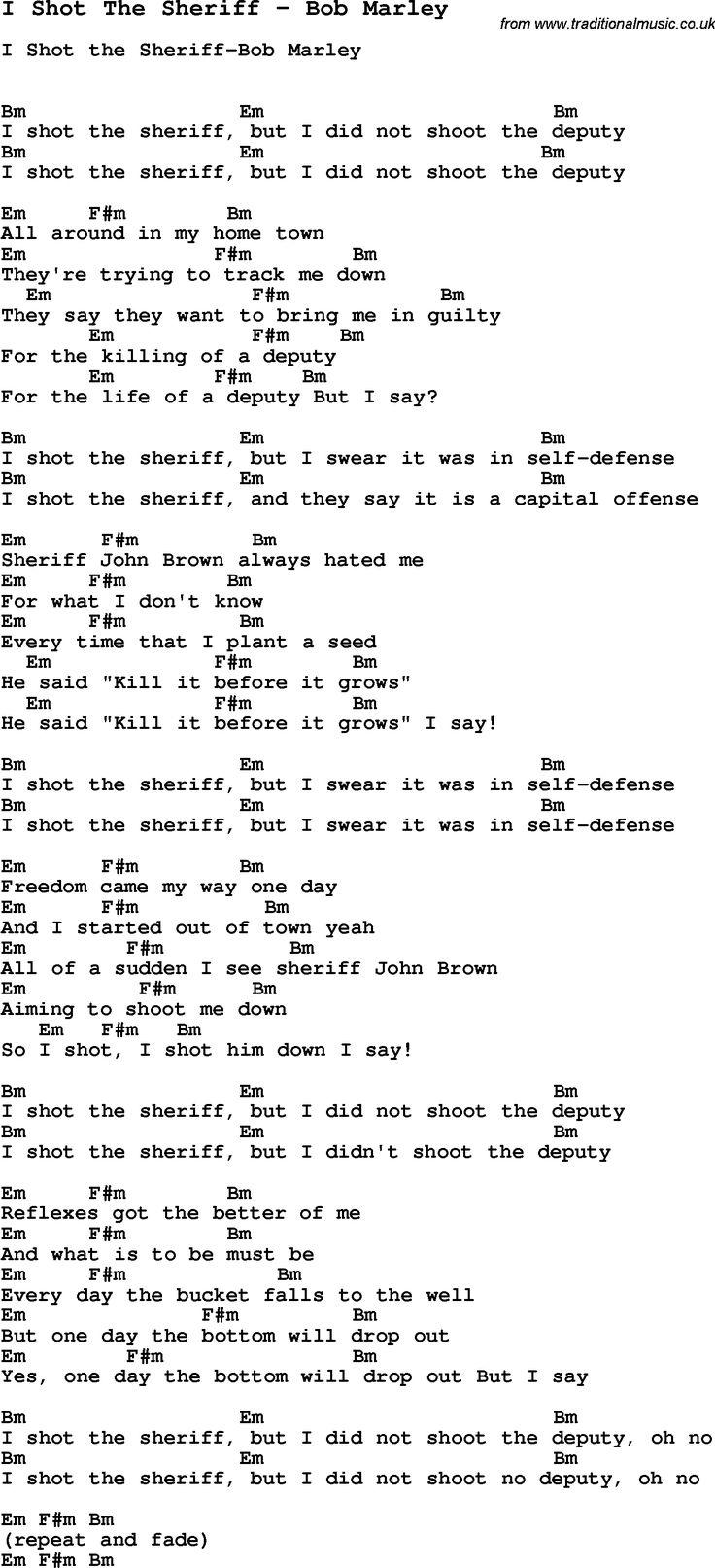 Song I Shot The Sheriff by Bob Marley, with lyrics for vocal performance and accompaniment chords for Ukulele, Guitar Banjo etc.