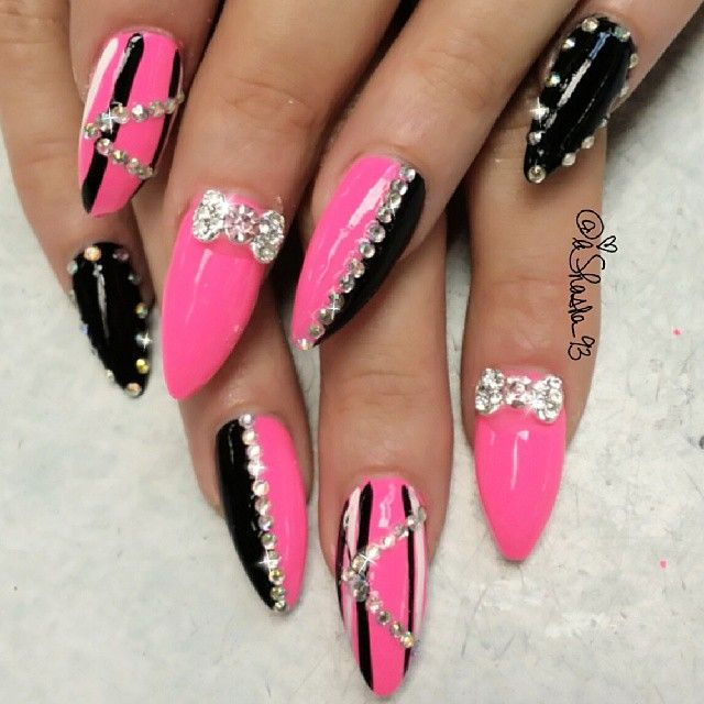 Black and pink bling nails - Best 20+ Nail Designs Bling Ideas On Pinterest Coffin Nail