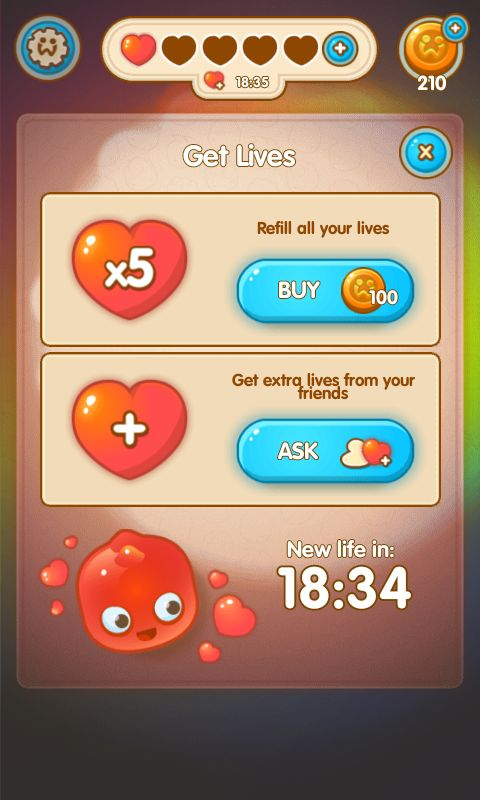 Jelly Splash by Wooga - Buy Lives Shop  - Match 3 Game - iOS Game - Android Game - UI - Game Interface - Game HUD - Game Art
