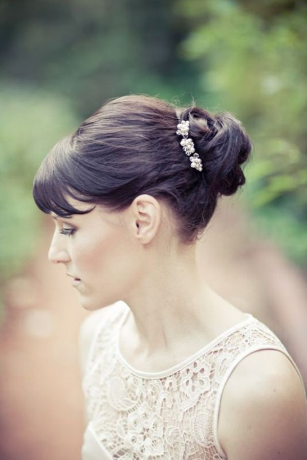 11 best Updos with Bangs images on Pinterest   Wedding hair styles, Wedding hairs and Bridal ...