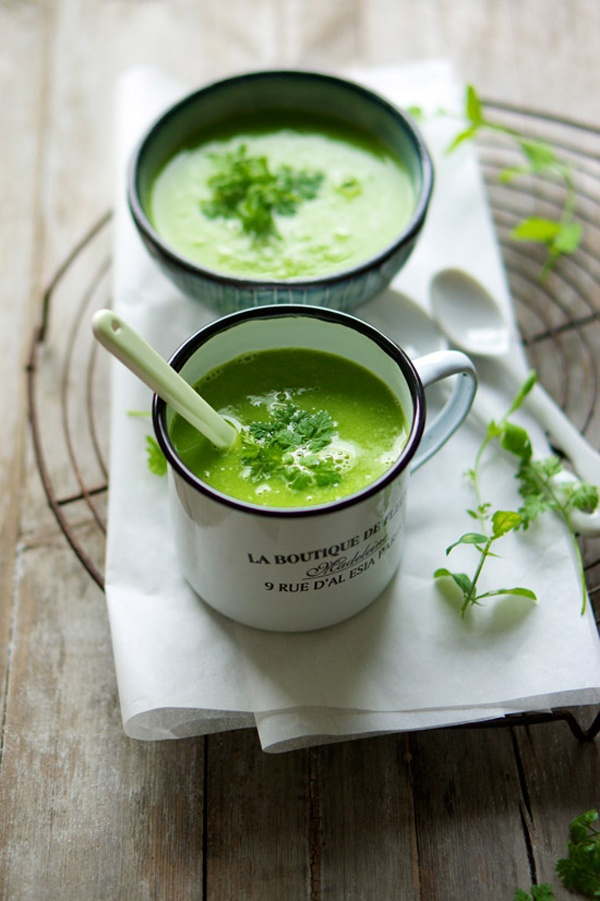 fresh pea soup.グリーンピース・スープ