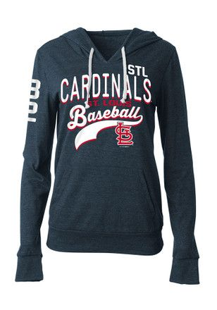 St Louis Cardinals Womens Black Tri Blend Hoodie