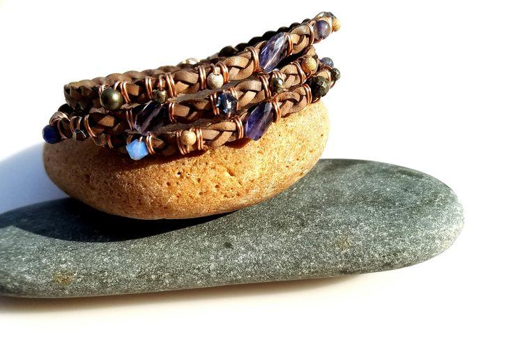 Boho Leather Wrap Bracelet Gemstone & Rose Gold Jewelry Wrap Bracelet Leather Jewelry Multistrand Leather Bracelet Beaded Wire Wrap Bracelet by NatalieCara on Etsy