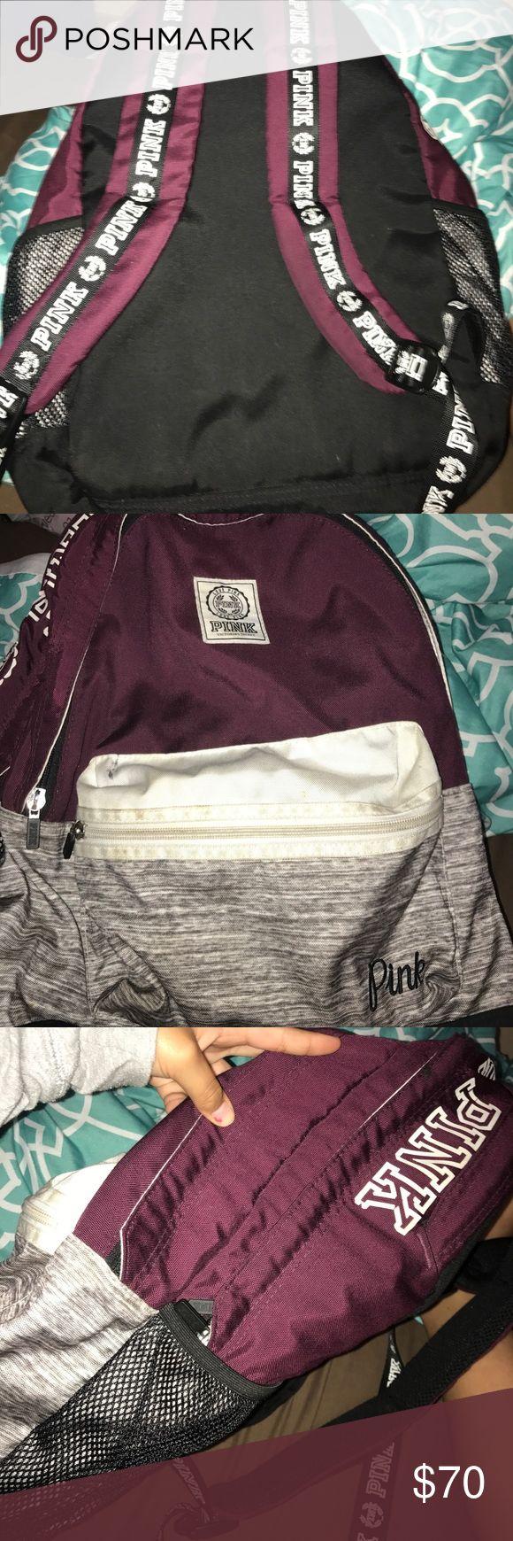 Slightly used VS pink back pack Maron/ dark purple color VS pink bag PINK Victoria's Secret Bags Backpacks