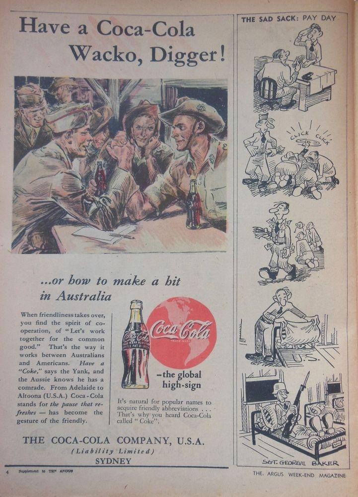 COKE COCA COLA WW2 DIGGERS AD 1945 original vintage AUSTRALIAN advertising