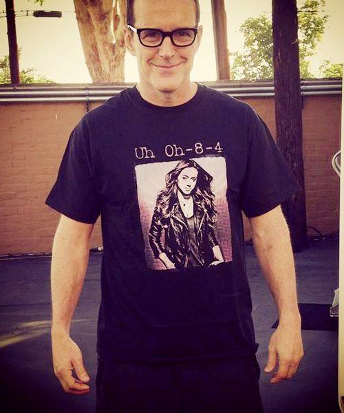 Clark Gregg wearing a hilarious Chloe Bennet T-shirt (x)