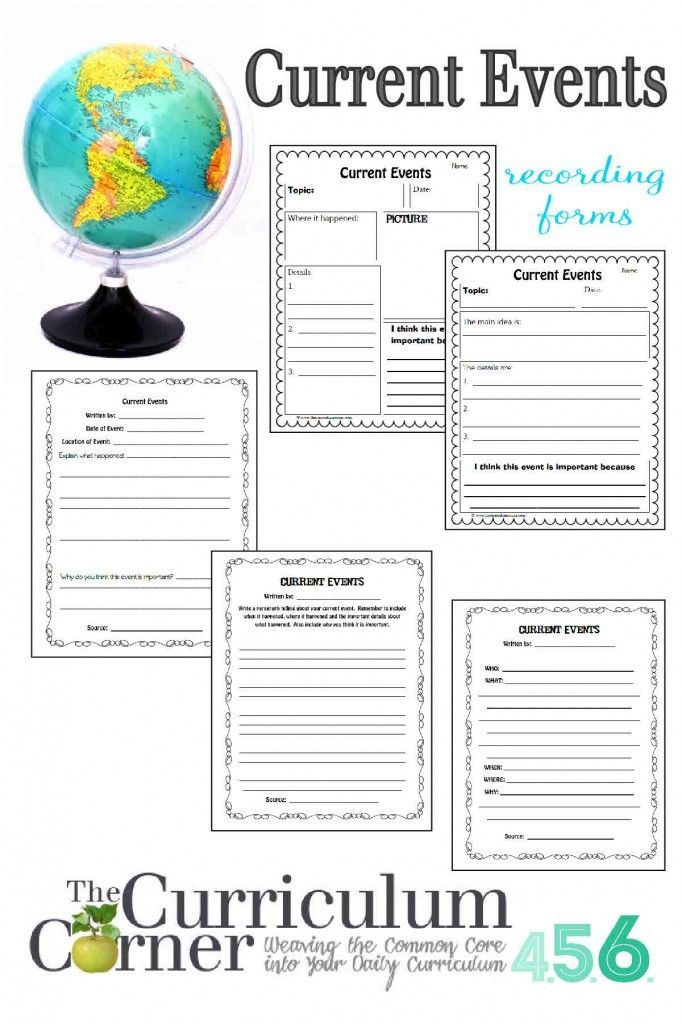 Current Events Recording Forms by The Curriculum Corner | Free | Social Studies
