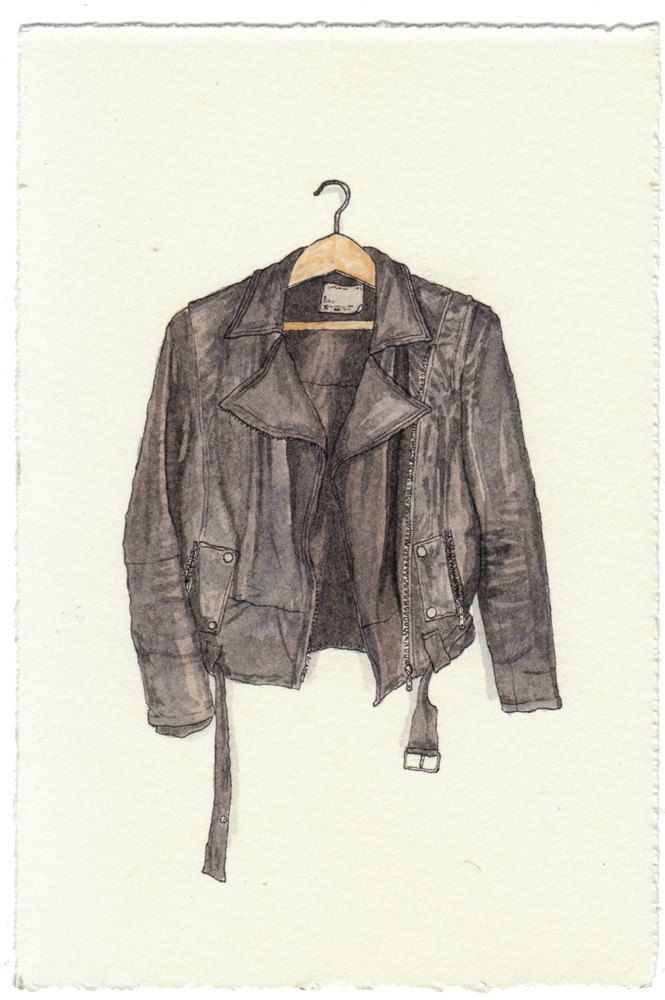 NEW/ORIGINAL Watercolor Illustration - Black Worn in Leather Biker Jacket II. $80.00, via Etsy.