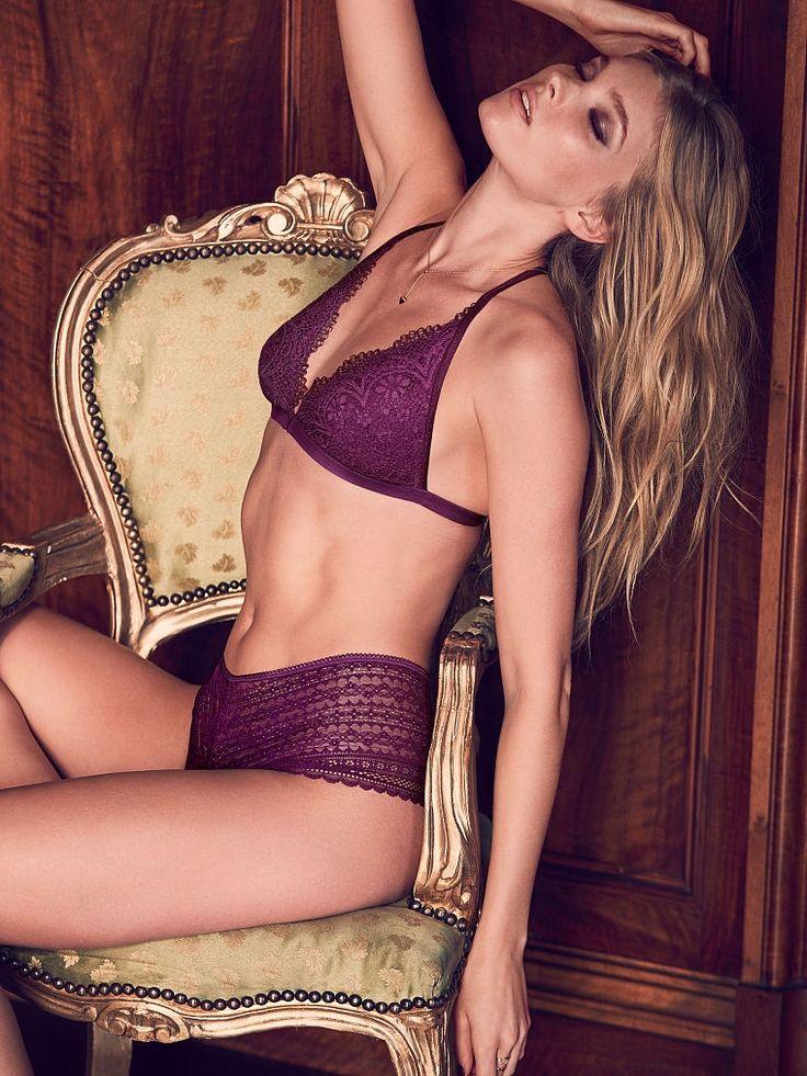 Angel Elsa Hosk lounges in purple Victoria's Secret lingerie