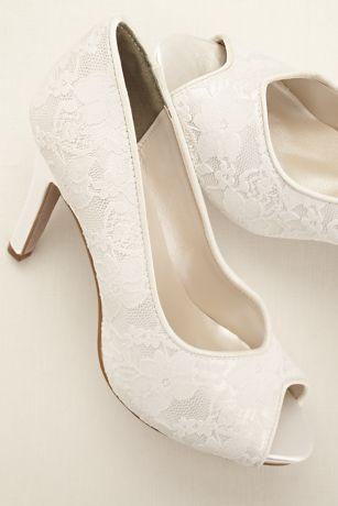 FOR THE VINTAGE BRIDE: Lace Peep Toe Pump at David's Bridal