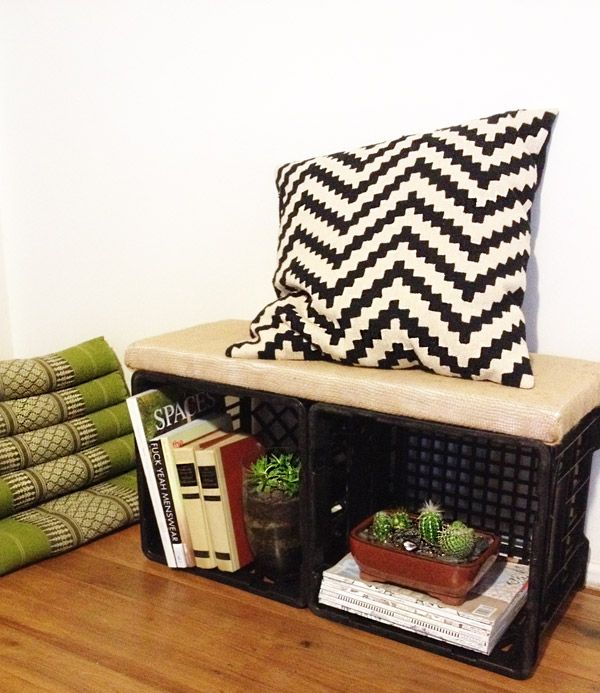 DIY Milk Crate Bench For Library... Would Use Bigger Cushion And A Soft Good Looking