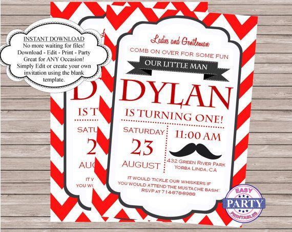 Mustache Bash Editable Invitation, red chevron, Mustache party, Little Man, Create your own invitation, Edit text, boy birthday, tie on Etsy, $6.61 CAD
