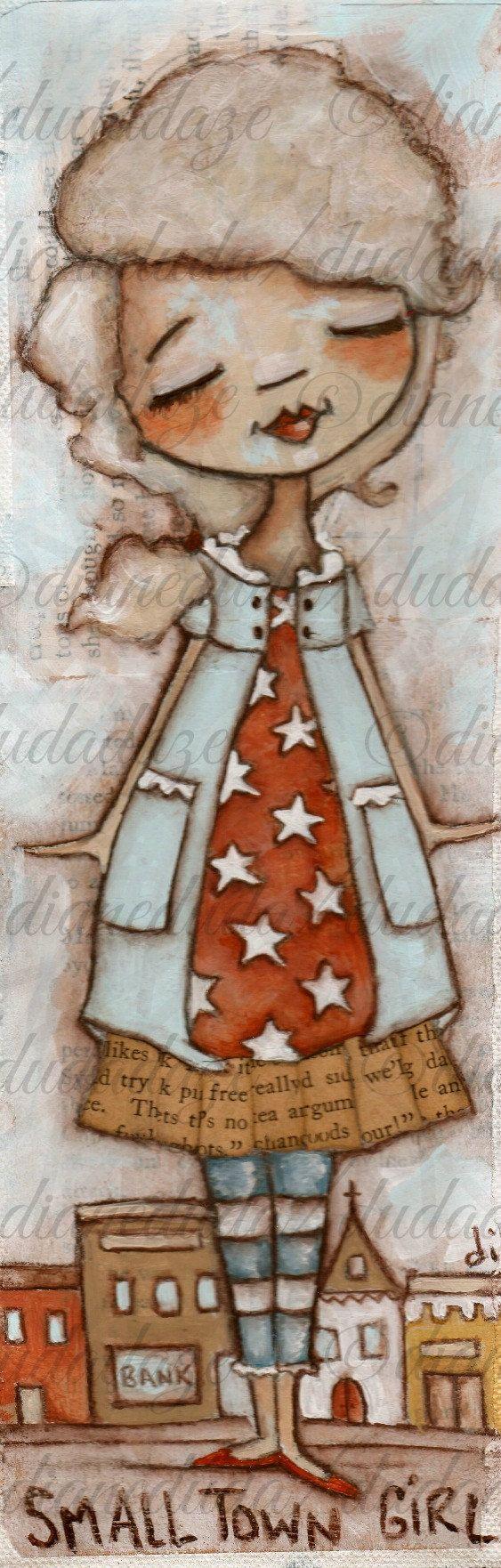 Original Folk Art Mixed Media Painting  Small Town Girl by DUDADAZE, $65.00 ©dianeduda/dudadaze