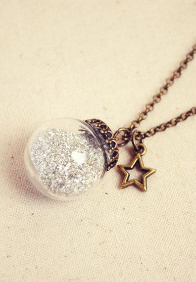 Crystal Ball Necklace with Silver German
