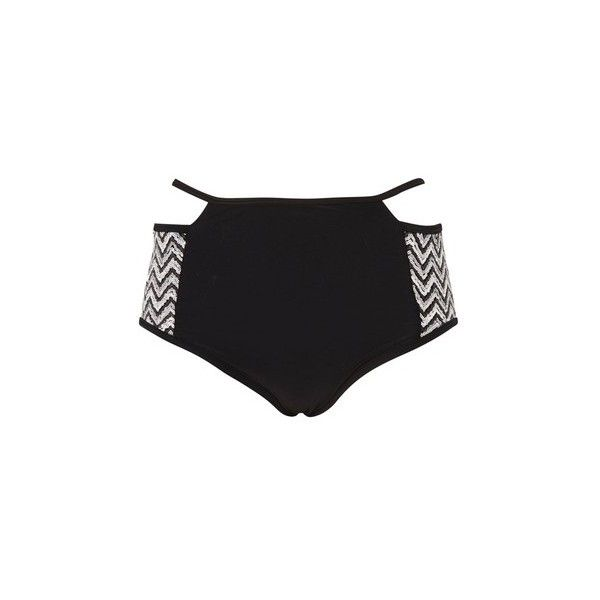 Black and Silver Sequin Bikini Bottoms by Rare (35 AUD) ❤ liked on Polyvore featuring swimwear, bikinis, bikini bottoms, black, high waisted bikini bottom swimwear, strappy bottom bikini, high waisted swim wear, strappy bikini bottom and strap bikini