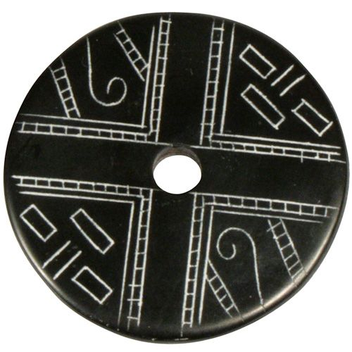 "Coal Pendant with Muisca Scroll #7  Crafted by Artisans in Colombia  Measures 1-3/4"" diameter and 1/8"" thick"