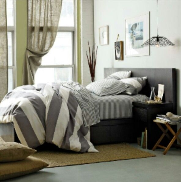 Gray bed and bedding