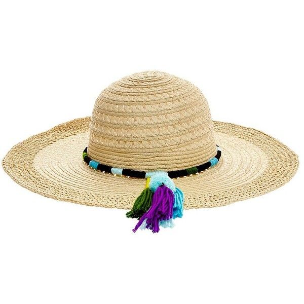 Betsey Johnson Pom Tassel Floppy Hat ($42) ❤ liked on Polyvore featuring accessories, hats, turquoise, tassel hat, wide brim hat, betsey johnson, pom pom hat and pompom hat