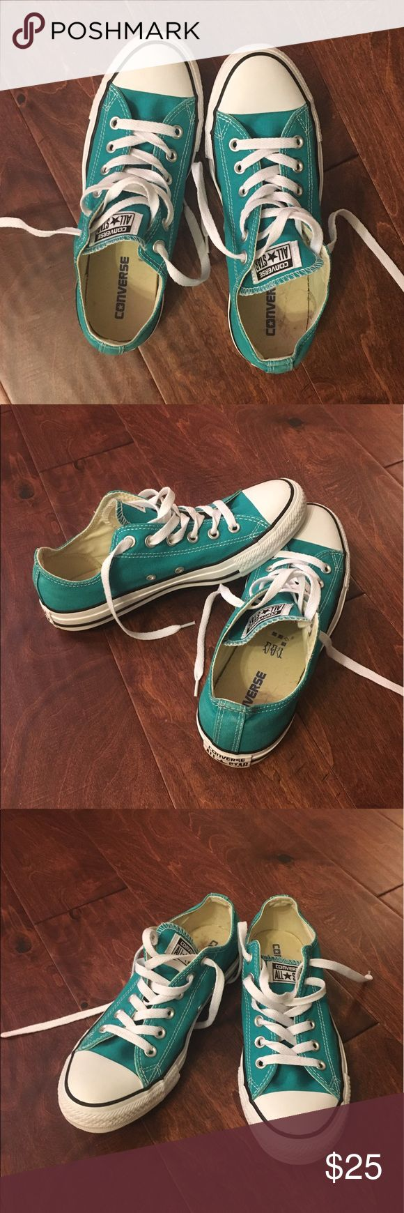 Teal Converse All Stars EUC sneakers in near perfect condition.  Light wear on All Star labels in back of shoes, as pictured.  Men's size 7/Women's size 9. Converse Shoes