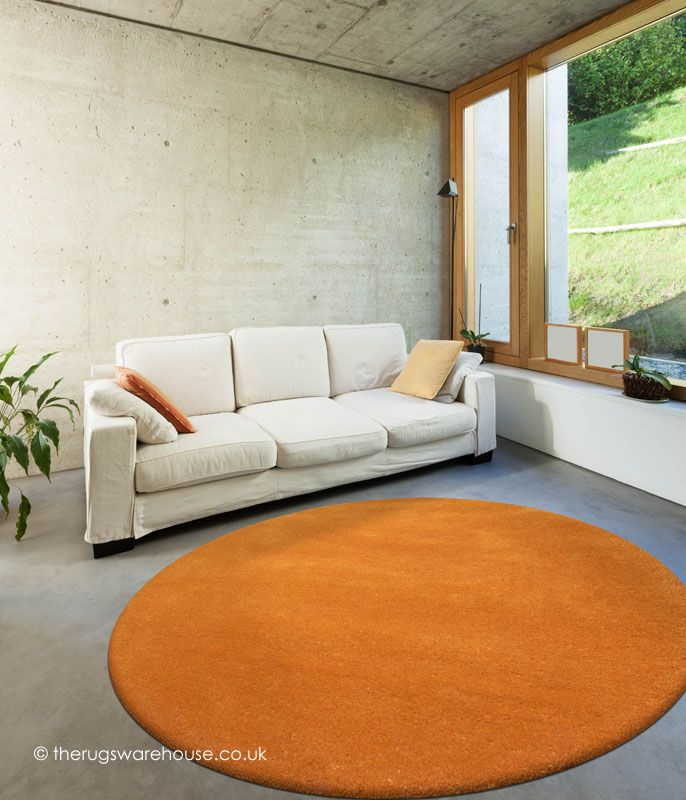 comfort pumpkin circle rug a handtufted 100 wool round rug in pumplin