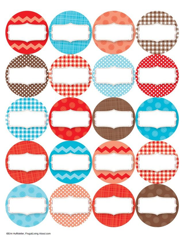 7 Free Printable Canning Jar Labels: Red Top Labels