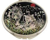 Mother of Pearl Makeup Mirror white tiger Design Cosmetic mirror Handbag Purse handheld Compact hand pocket Mirror