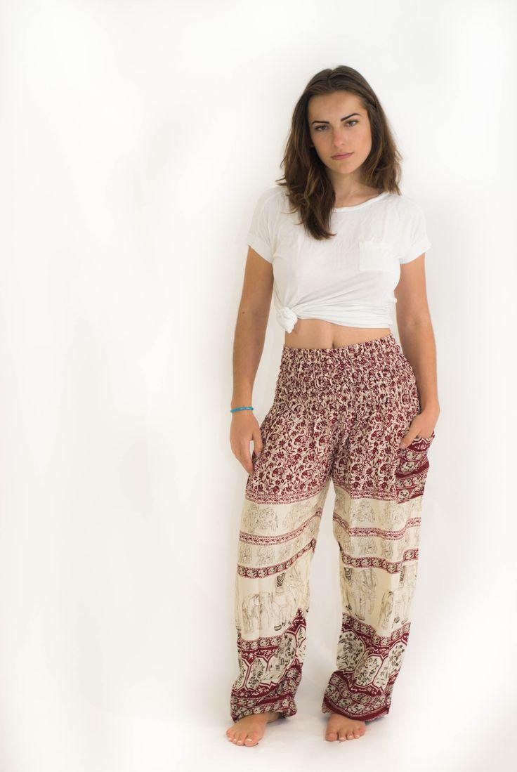 Red Elephant Print Harem Pants $24.00