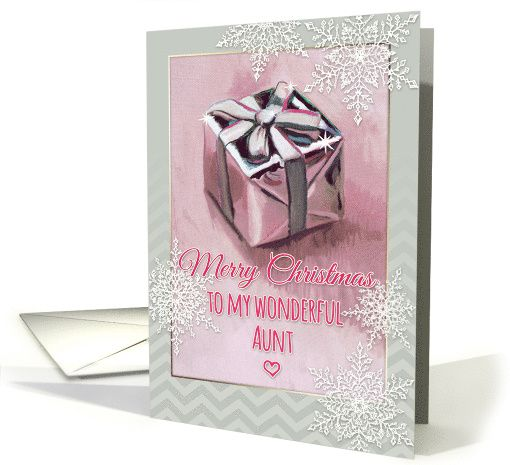 Merry Christmas to my wonderful Aunt, gift painting, snowflakes card