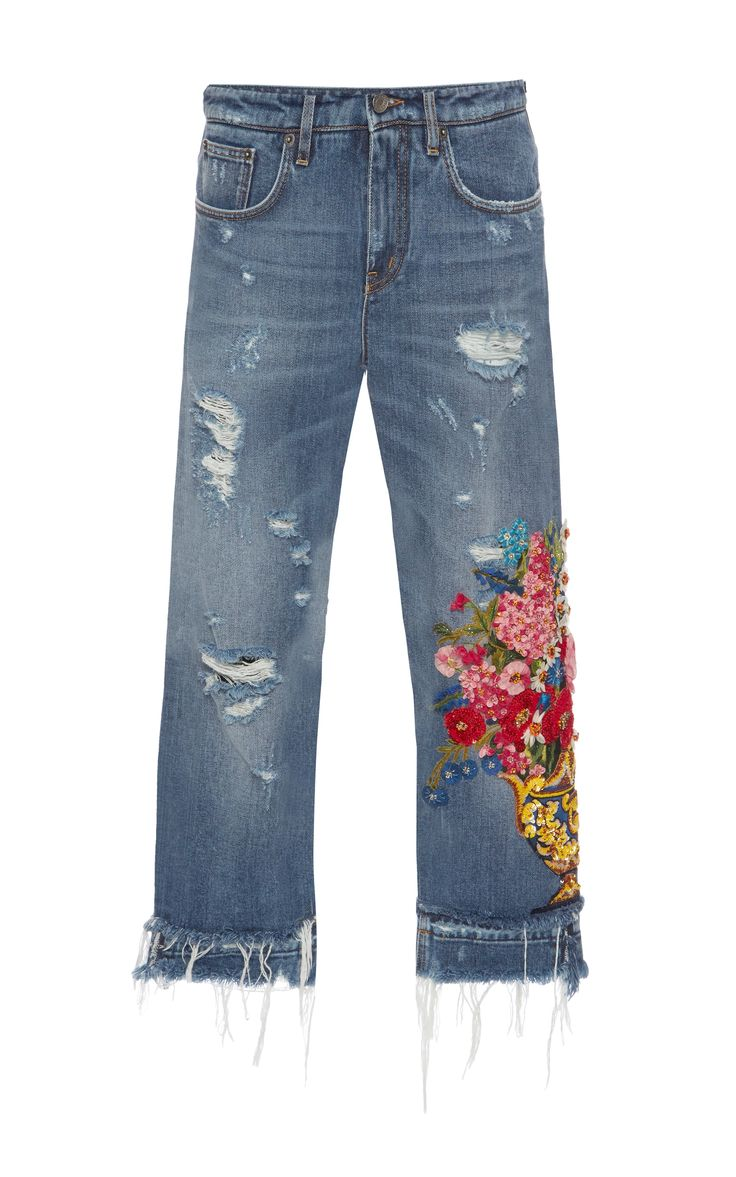 Embellished High-Rise Jeans by DOLCE & GABBANA #fashion #clothes #jeans