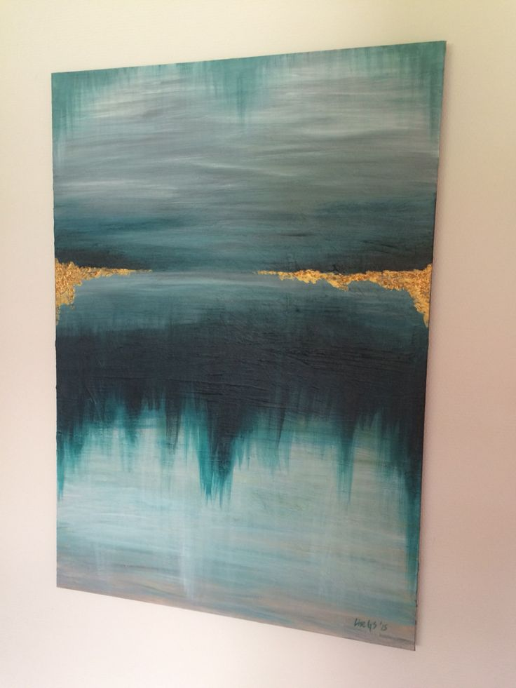 Abstract Painting - Grey, Green, Gold. Acrylic on canvas