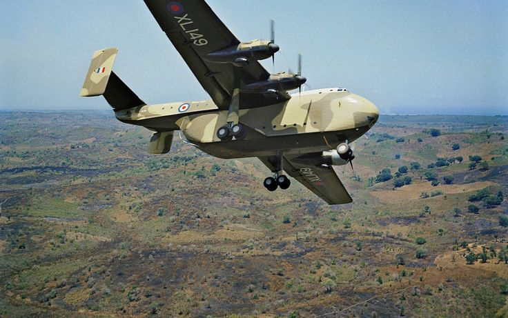 Blackburn Beverley (XL149) of No 30 Squadron RAF in flight over the Kenyan bush.