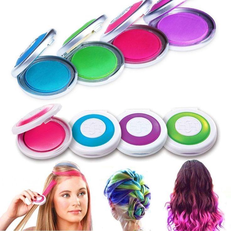 4PCS Non-toxic Temporary Hair Chalk Dye Soft Pastels Salon Kit
