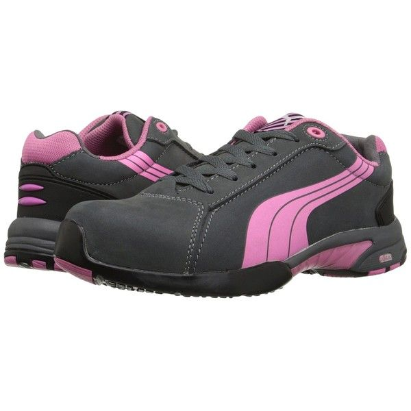 PUMA Safety Balance (Gray) Women's Work Boots (120 CAD) ❤ liked on Polyvore featuring shoes, boots, safety toe work boots, steel toe caps, steel toe shoes, grey boots and safety toe boots