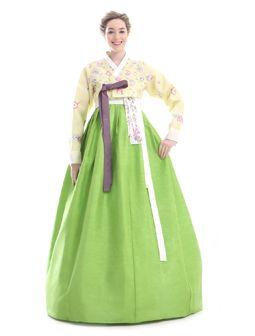 Custom Made Silk Embroidery Flower Evening Hanbok Korean Dress