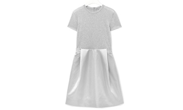 50 best party dresses - silver dress with grey jersey top half by Cos