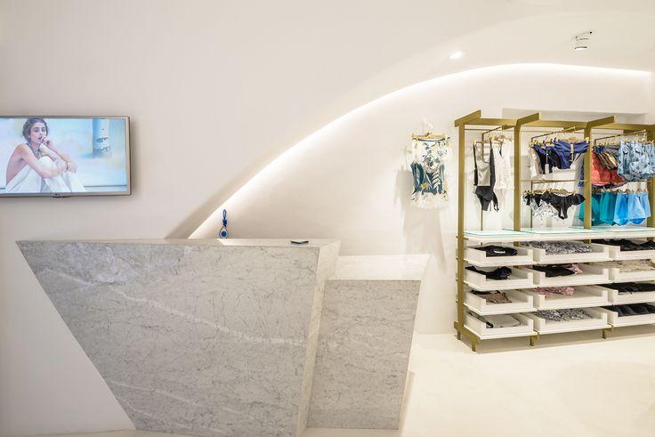 Reception, marble, lingerie and resortwear boutique, mykonos island, Levon.