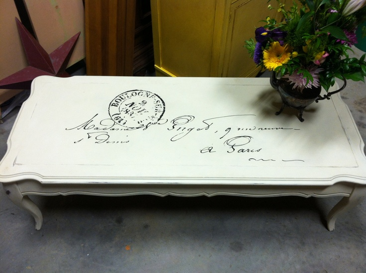 Shabby Chic French Script Coffee Table by VintageSoulTX on Etsy