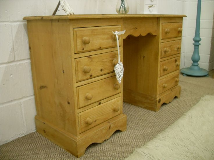 SHABBY CHIC SOLID PINE DRESSING TABLE 8 DRAWERS - RUSTIC LOOKING WITH AGE RELATED MARKS - W 122 - D 43 - H 74 CM - £135 http://www.drabtofabfurniture.co.uk/non-painted-furniture/